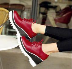 Clásico para Mujer Taco Alto Punta Redonda Cuña Plataforma Grande ENREDADERA  Zapatos Con Cordones Enredaderas 6a0823ab1322