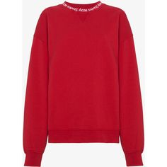 Acne Studios Logo Collar Cotton Sweatshirt (430 CAD) ❤ liked on Polyvore featuring tops, hoodies, sweatshirts, red, logo top, collared sweatshirt, acne studios sweatshirt, acne studios and red top