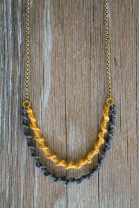 Handwoven Cotton and Brass Necklace: Inspired by friendship bracelets. I used to make a ton of those. :)