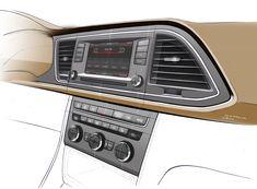 SEAT Leon ST Interior - Instrument Panel and Center Console Design Sketch