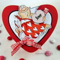 Val Set Valentines Day stamp from Art Impressions. Valentine's treat box with cupid.