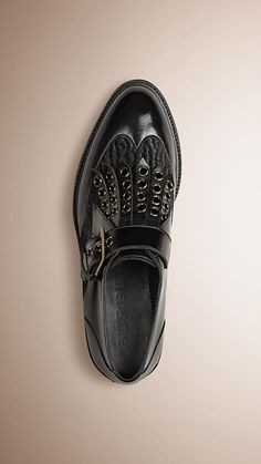 Black/black Buckle Detail Leather and Calfskin Shoes - Image 1