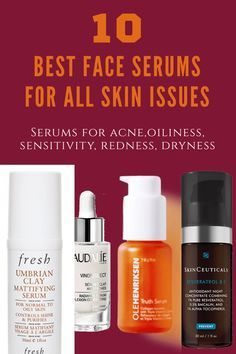 Best Face Serums For Dry, Oily, Combination And Sensitive Skin - 2019 Dry Acne Prone Skin, Acne Skin, Skin Peeling On Face, Best Face Serum, Anti Redness, Lotion For Dry Skin, Tumeric Face, Best Face Products, Beauty Products