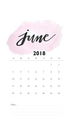 Watercolor June 2018 iPhone Calendar