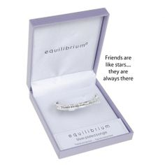Equilibrium Silver Plated Hinged Bangle - Friends are like stars