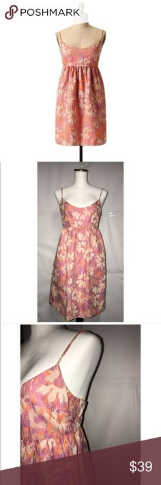 "Anthropologie ""A Rose has no teeth"" Floral Dress 🔸Anthropologies ""A Rose Has No Teeth""🔸Size Small🔸Bust 32-34🔸Approx 34"" length🔸Cotton/poly/nylon/spandex blend🔸Metallic toned brocadesque fabric🔸Zip closure🔸side pockets🔸Spaghetti straps🔸Lined🔸Pre owned-Great condition🔸 Anthropologie Dresses"