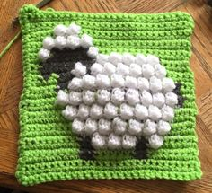 Baby sheep crocheted afghan square.  Pattern by Repeatcrafterme