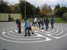 7 Circuit Chartres style Labyrinth. A playground maze with no dead ends. Kids can walk it and contemplate tough issues, or bounce a basketball through it. A beautiful, fun and thoughtful playground game.