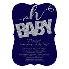 Baby Shower for Boy Oh Baby Modern Glitter Boys Baby Shower Invitation