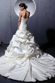 Ivory Court train Empire Wedding ball gown with Pick up skirt