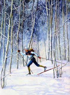 Whispering Tracks by Hanne Lore Koehler ~ cross-country Nordic skier - Love cross-country skiing. Sports Painting, Action Painting, Figure Painting, Snow Scenes, Winter Scenes, Xc Ski, Nordic Skiing, Thing 1, Winter Painting