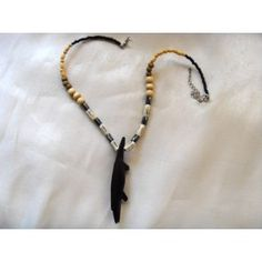 Men's necklace with beautifully crafted ebony crocodile pendant