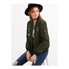 105710a71b0 SheIn offers Army Green Embroidered Patch Zipper Bomber Jacket   more to  fit your fashionable needs.