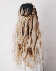 Half up braid waves hair