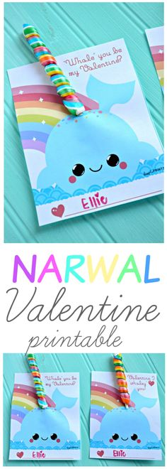 Need a cute free Valentine printable? Use a twisty lollipop (off Amazon) to make these cute FREE NARWAL VALENTINE PRINTS!! Aren't they so cute?!