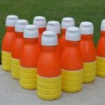 Candy Corn Bowling using Creamer Containers