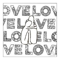 LOVE coloring poster by dbgallerie on Etsy