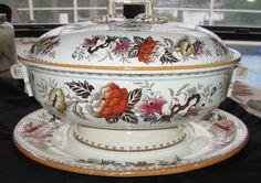 "Rare Antique Wedgwood Brown ""Bullfinch"" Pattern Queen's Ware Serving Tureen"