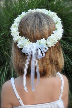 White silk Hydrangea Halo Hair Wreath by Hollysflowershoppe, $35.00
