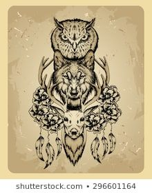 Find Owl Wolf Deer Style Tattoo stock images in HD and millions of other royalty-free stock photos, illustrations and vectors in the Shutterstock collection. Wolf Tattoos, Deer Tattoo, 1 Tattoo, Animal Tattoos, Leg Tattoos, Body Art Tattoos, Tattoo Drawings, Sleeve Tattoos, Tatoos