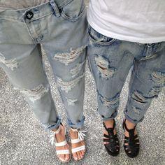 boyfriend jeans  sandals