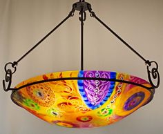 Painted Chandelier by artist Jenny Floravita Painted Chandelier, Chandelier For Sale, Glass Chandelier, Ceiling Canopy, Ceiling Lights, Kiln Formed Glass, Light Art, Abstract Art, Bulb