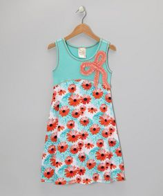 Take a look at this Seafoam & Orange Floral Bow Dress - Girls by Pink Vanilla on #zulily today!
