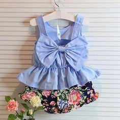 Short Set Blue Bow Sleeveless Vest+ Flower Print Shorts Set Toddler Girl Clothing For 2-8Y
