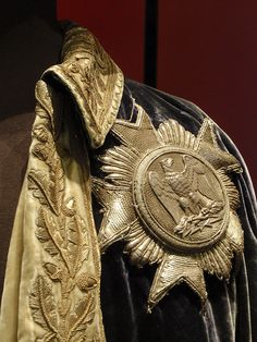French Marechal cloak military uniform - embroidery detail including medal with eagle (legion de honour). Historical Costume, Historical Clothing, Military Costumes, Military Uniforms, French History, Gold Embroidery, Gold Work, Fashion Project, Napoleonic Wars