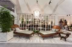 Maison&Objet, January 2014, Paris -- Chelini stand with new outdoor collection made of teak.