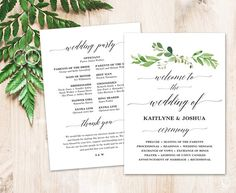 Greenery Wedding Program Template Printable Wedding Programs
