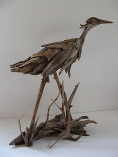 "The size of this Heron sculpture is 39.5"" high x 42"" wide, x 18"" deep at the base.  The driftwood used has been collected in the Rangeley Lakes region of Maine."