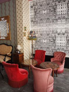 """""""Acanthus"""" & """"Bumblebee"""" - F&B. Fornasetti Wallpaper, Wall Wallpaper, Cole And Son Wallpaper, Living Room Lounge, Stunning Wallpapers, Red Rooms, Happy House, Decoration, Colorful Interiors"""