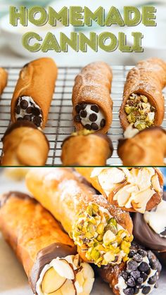 This Homemade Cannoli recipe is so easy to make, and the end results taste just as satisfying as ones bought from an Italian bakery. The crispy shell and creamy, sweetened ricotta cheese filling are to die for and will make any day a little extra special! Canolli Recipe, Homemade Cannoli Recipe, Baked Cannoli Shells Recipe, Canoli Shell Recipe, Homemade Cannolis, Bakery Recipes, Fun Baking Recipes, Sweet Recipes, Cooking Recipes