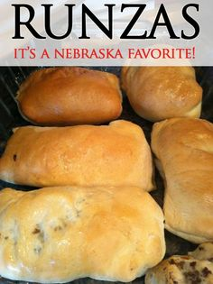 Homemade Nebraska Runza Recipe. This is a good one to try! In my home they are called bierock and made with homemade bread Beef Dishes, Food Dishes, Meat Recipes, Cooking Recipes, Pan Relleno, Sandwiches, Mini Quiches, Good Food, Yummy Food