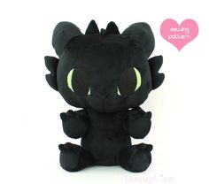 """How to Make Your Dragon: Plushie Sewing Pattern PDF - Baby Toothless dragon stuffed animal - HTTYD cuddle plush soft toy 13"""""""