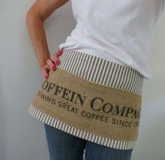Coffee Half Apron Burlap Apron 3 Pockets Blue by BackAlleyChic, $20.00