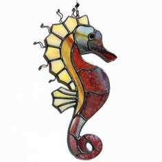 Stained glass seahorse suncatcher, stain glass sea horse ornament on Etsy