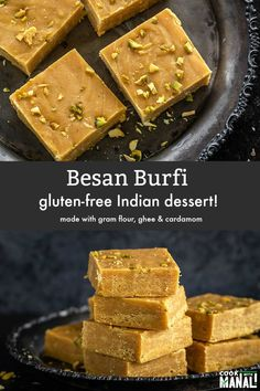 Popular Indian sweet Besan Burfi is made with gram flour ghee and flavored with cardamom. This homemade recipe makes melt-in-mouth burfi every time! Best Indian Recipes, Indian Dessert Recipes, Indian Sweets, Sweets Recipes, Real Food Recipes, Baking Recipes, Appetizer Recipes, Free Recipes, Vegetarian Recipes