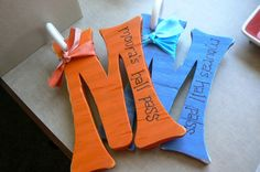 Wooden initials become cute hall passes...easy to make, inexpensive to buy, hard for kids to loose...what's not to like?