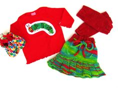 Small Very Hungry Caterpillar Skirty, Shoes, Tee, and Legwarmers!