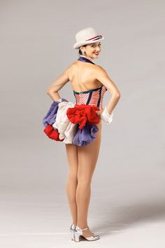 "The ""Red, White, & Blue Proof"" costume is a patriotic look designed by Frank Spencer and was introduced by the Rockettes in 1981.  #rockette #NYC #costumes #dancers #glamorous #redwhiteandblue #red #white #blue #tophat #patriotic"