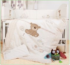 99.00$  Buy now - http://alipkn.worldwells.pw/go.php?t=32707020955 - Promotion! 7pcs Baby Bedding for Crib Baby Bed Linens for Girl Boy Cartoon Bear Cot Bumpers ,include(bumpers+duvet+sheet+pillow)