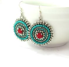 Turquoise Red EARRINGS. Silver beaded earrings. by SigalsDesigns, $55.00