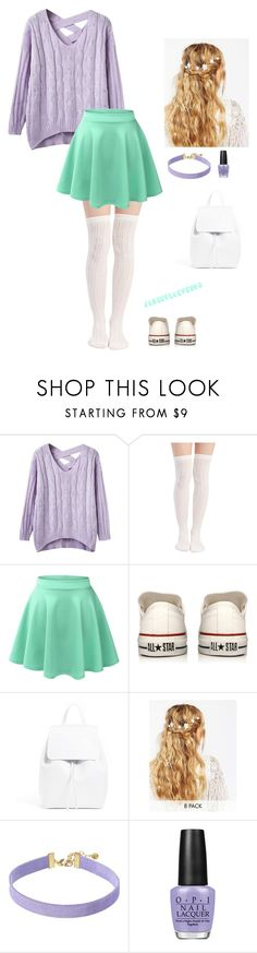 """""""Mermaid"""" by jadenblanche02 ❤ liked on Polyvore featuring Wet Seal, LE3NO, Converse, ASOS, Vanessa Mooney and OPI"""