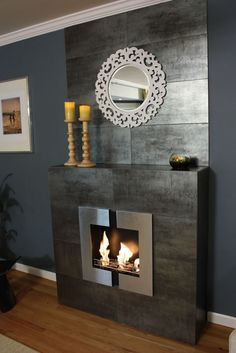 wall mount fireplace with hearth Ethanol Fireplace, Fireplace Wall, Fireplace Design, Propane Fireplace Indoor, Wall Mounted Fireplace, Fireplace Ideas, Tv Wall Brackets, Simple Fireplace, Wall Mounted Tv