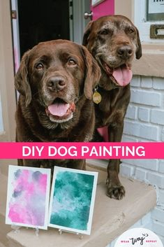 """Can your dog paint? A lick painting is a DIY dog art project where a canvas covered with drips of paint is placed into a peanut butter-covered Ziploc bag. As your dog licks off the peanut butter, they """"paint"""" the canvas! Create artwork WITH your dog with my easy DIY tutorial including a video and bonus tips on my dog mom blog Wear Wag Repeat. Chocolate Labradors, Chocolate Labs, Dog Washing Station, Durable Dog Toys, Dog Artwork, Diy Dog Treats, Dog Crafts, Dog Blanket, Dog Paintings"""
