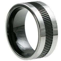 This ring is part of the Ceramic rings collection. The Hercules unique carved black inlay is made from black ceramic. The remainder of the ring is made from tungsten carbide. The ceramic and tungsten combo makes the perfect wedding band in 10mm width.
