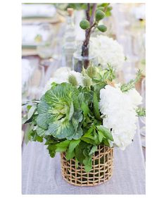 When it comes to wedding reception décor, all eyes will be on the table centerpieces. From short and delicate to high and cascading, get inspired by these captivating floral arrangements. Green Centerpieces, White Centerpiece, Wedding Table Centerpieces, Centerpiece Ideas, Wedding Table Flowers, Wedding Flower Decorations, Wedding Ideas, Wedding Arrangements, Floral Arrangements
