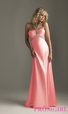 $50 Halter Prom Dress by Night Moves 6230 at PromGirl.com